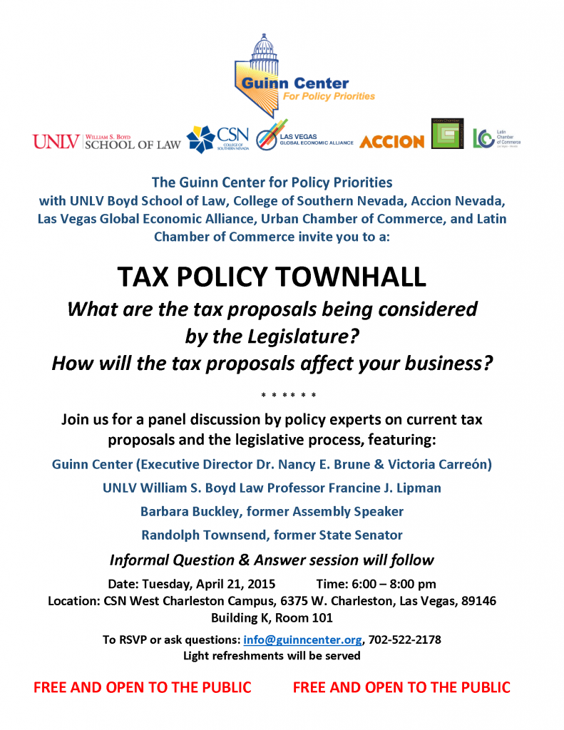 TAX POLICY TOWNHALL April 16 2015